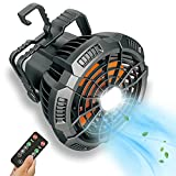 Camping Fan for Tent with LED Lantern, Rechargeable USB Fan with Remote Control, 180° Rotation, Quiet and Strong Wind, Portable Power Bank Fan for Outdoor Barbecue Picnic Fishing