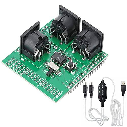Youmile Placa de conexión MIDI Shield Placa adaptadora MIDI 3 Conector MIDI hembra de ángulo recto en serie a módulo MIDI con cable USB MIDI para adaptador de interfaz digital R3 AVI PIC