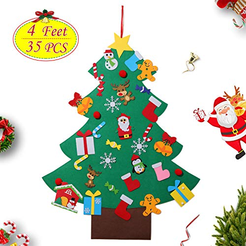 4ft Felt Christmas Tree Set DIY 3D Wall Hanging Xmas Trees Detachable Pendant 35Pcs Ornaments Home Office Classroom Door Decor Kids Gift