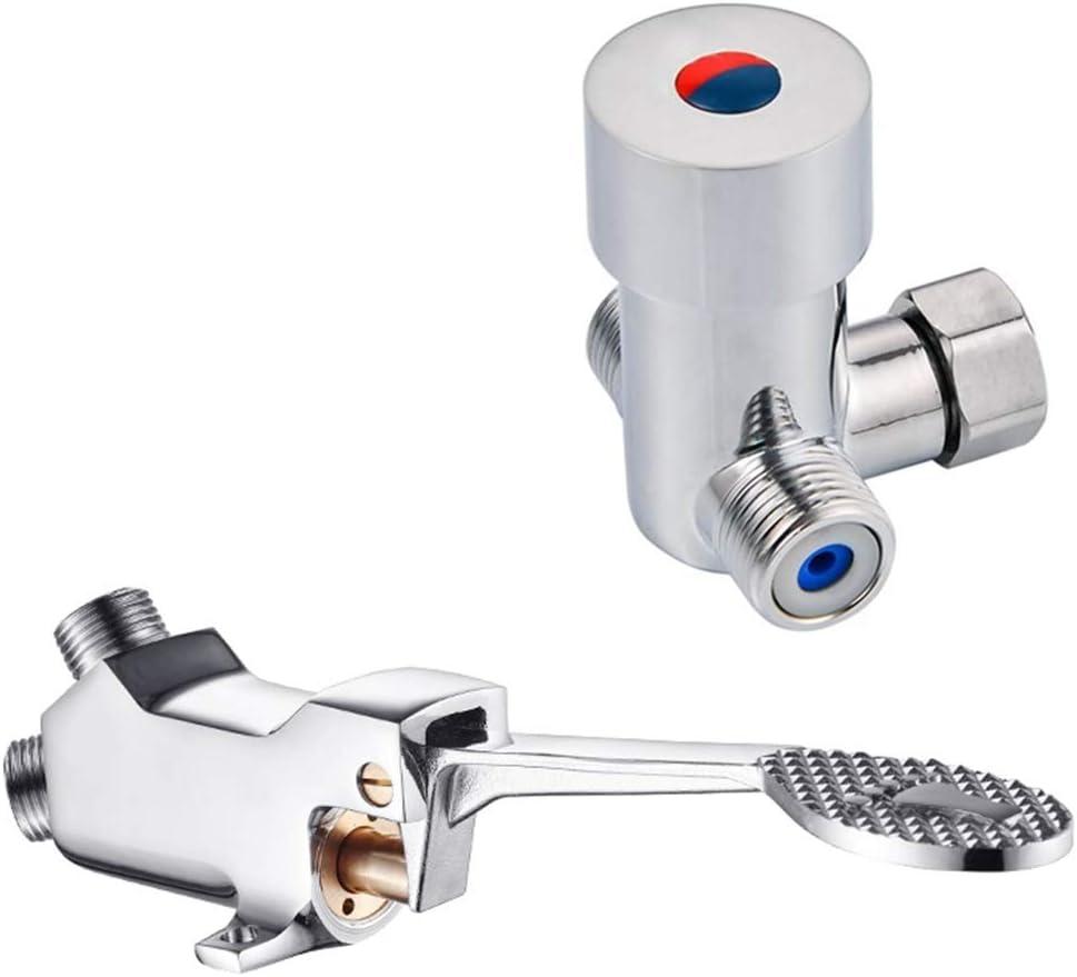 LukLoy Válvula de agua de pedal de agua fría y caliente para grifos de manos libres (válvula de agua fría y caliente A) (válvula de agua fría y caliente A)