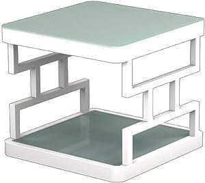 Mesitas de café, Mesa de centro del lado de la sala de estar de la tabla de la tabla lateral de cristal moderada del sofá Mesa de centro del lado del sofá ( color : Blanco , Tamaño : 40cm )