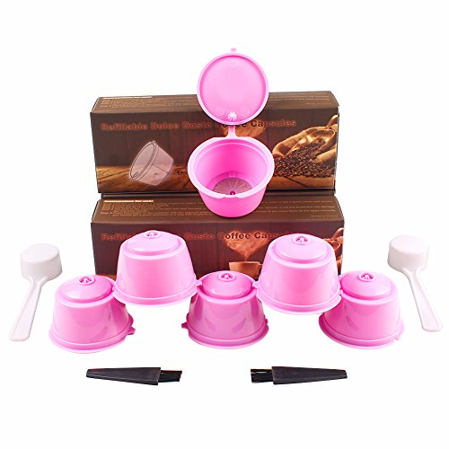 Soleebee i cafilas 6 Stück Kaffee Kapseln Nachfüllbare Wiederverwendbare Kaffeekapsel-Filtertasse Kapsel-Adapter Kaffeekapseln für Dolce Gusto mit 2 Kaffeelöffel und 2 Bürste (Rosa)