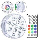 Lumière LED Submersible, Alilimall 10-led RGB Éclairage Lampes Sous-Marines Multi-couleur avec Télécommande Aimant Ventouses, Lumières de Baignoire Étanche IP68 pour Aquarium Baignoire Piscine Jardin