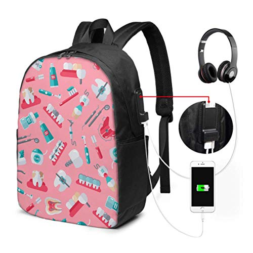 Bookbags for Women Cute Electric Automatic Toothbrush College Girl Bag with USB Charging Port and Headphone Port for College Work Travel