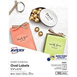 Avery Printable Blank Oval Labels, 1.5' x 2.5', Glossy Crystal Clear, 180 Customizable Labels (22854)