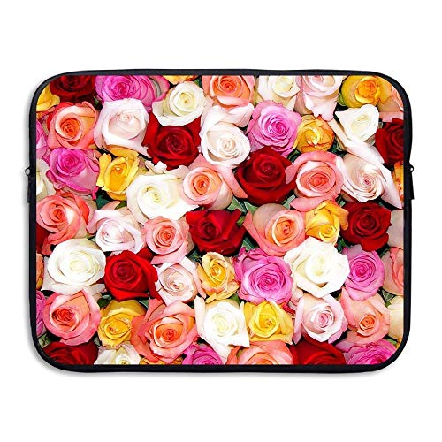 Laptop Sleeve Bag Pastel Roses in Blush Pink 15 Inch BriefSleeve Bags Cover Notebook Waterproof Portable Messenger Bags