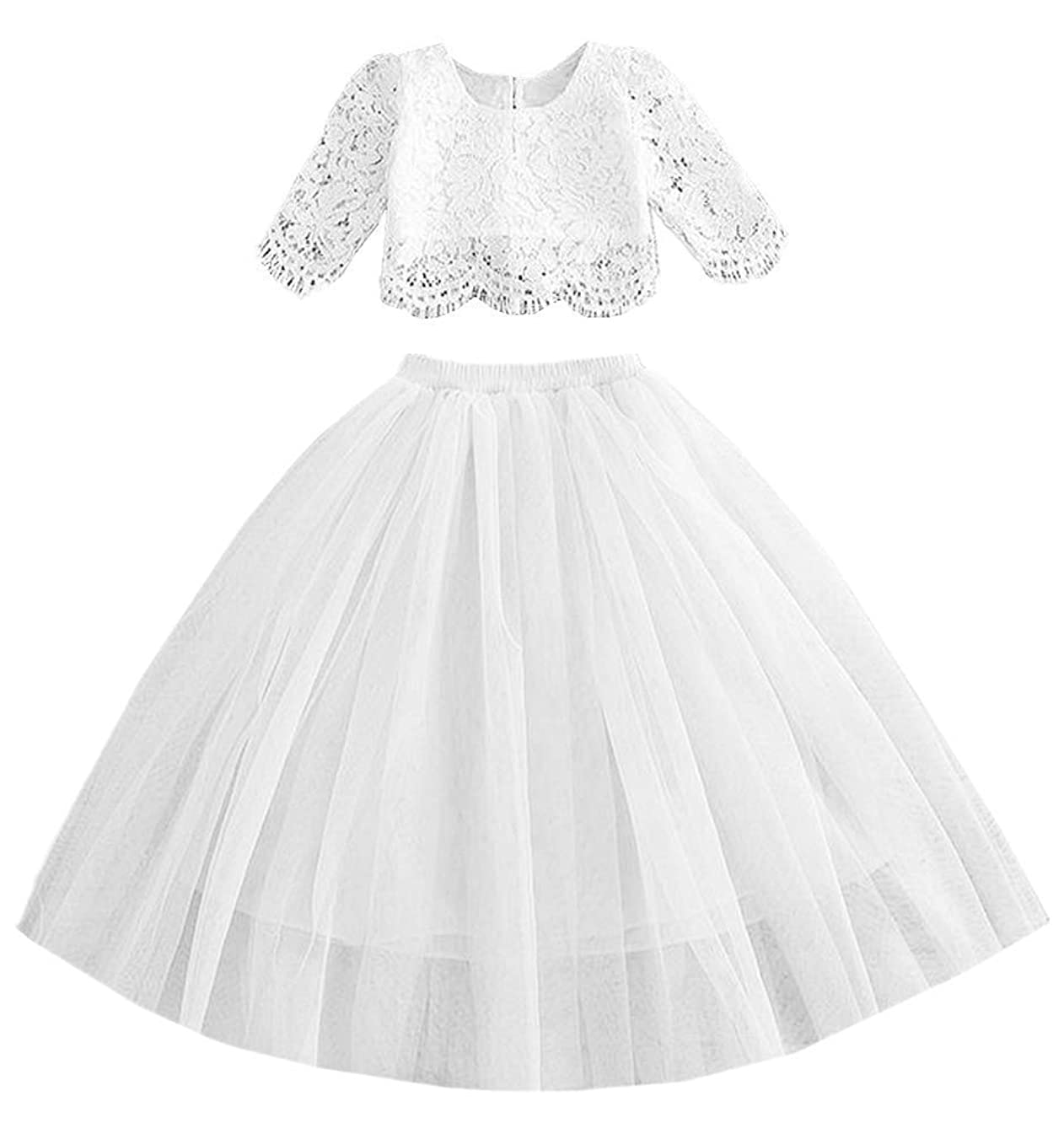 2Bunnies Girl Lace Straight Tutu Tulle Party Flower Girl Dress Set
