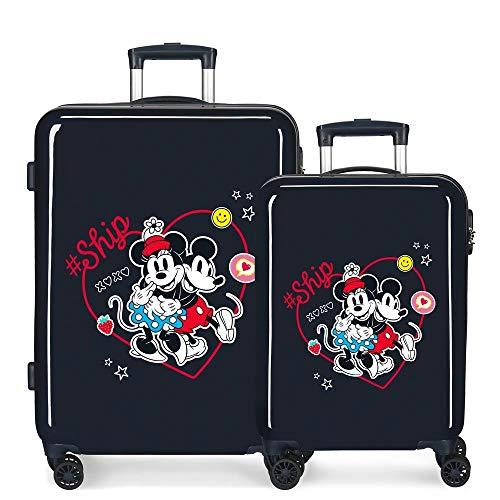Disney Always Be Kind Juego de Maletas Azul 55/68 cms Rígida ABS Cierre de combinación Lateral 104L 6 kgs 4 Ruedas Dobles Equipaje de Mano