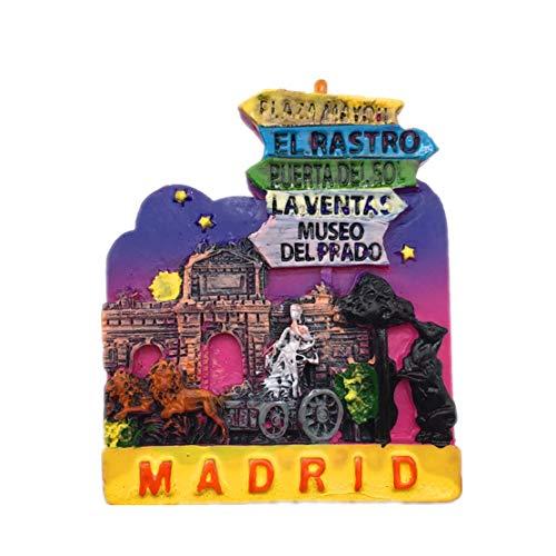 Weekinglo Souvenir Imán de Nevera Madrid España 3D Resina Artesanía Hecha A Mano Turista Viaje Ciudad Recuerdo Colección Carta Refrigerador Etiqueta