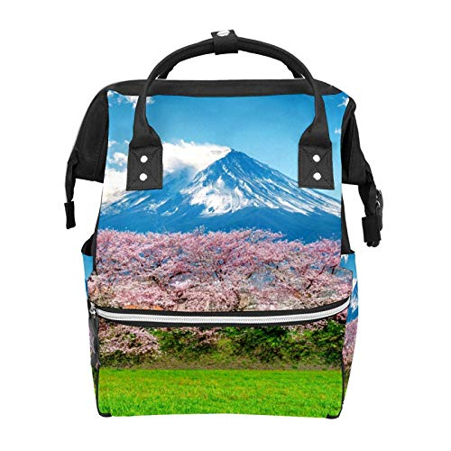 Japan Fuji Mountain Cherry Blossom Diaper Backpack Bags Multifunction Backpack for Mom Girl Women School Travel Hiking Bag Laptop Baby Bag