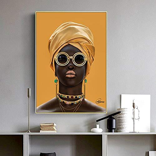 RTAGBFND Arte de pared moderno cartel de mujer africana lienzo pintura mujer negra gafas de sol sala de estar dormitorio decoración de la pared-50x70cm sin marco