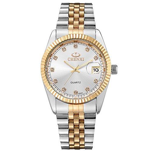XLORDX Herren Armbanduhr Analog Quarz Datum Gold mit Edelstahl Weiß