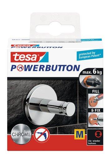 tesa Premium-Haken, selbstklebend, hält bis zu 6kg, Chrom