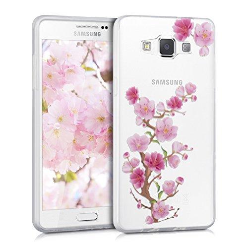 Preisvergleich Produktbild kwmobile Hülle kompatibel mit Samsung Galaxy A5 (2015) - Handyhülle - Handy Case Kirschblüte AST Pink Rosa Transparent