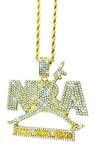 "Exo Jewel CZ Diamond Youngboy Never Broke Again NBA Pendant Necklace (Gold, 24"" Rope Chain)"