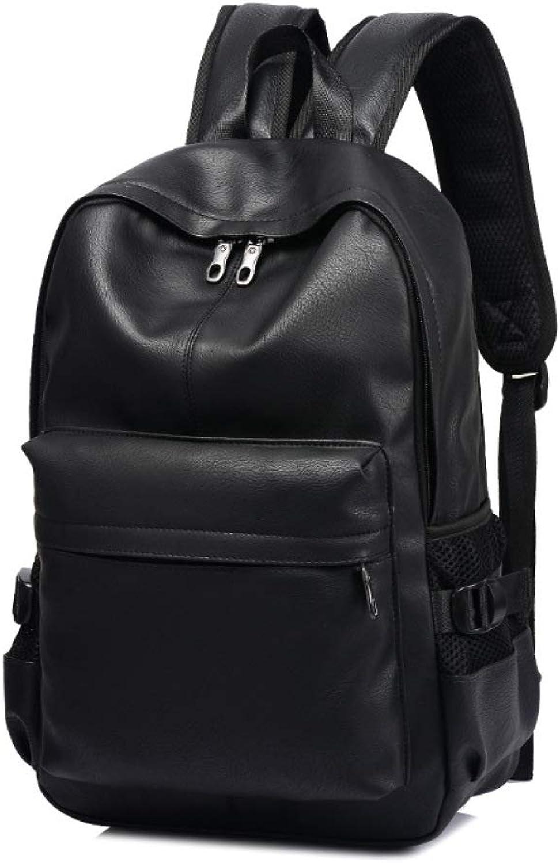 MYJ Doppelte Schultern, Junge Studententasche Mnner, Leder-Mode-Trend Herrenrucksack Pu-Tasche,Schwarz,A
