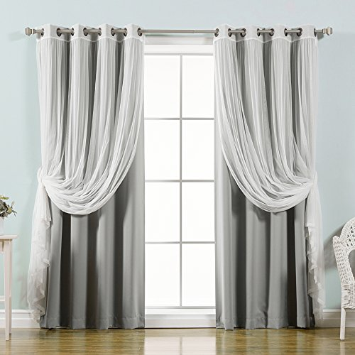 "Best Home Fashion uMIXm Tulle Sheer Lace & Blackout 4 Piece Curtain Set - Antique Bronze Grommet Top - Grey - 52"" W X 96"" L - (Set of 4 Panels)"