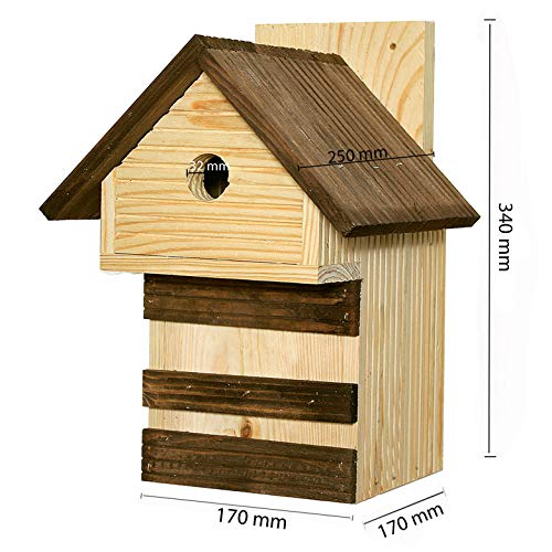 Nistkasten Meisen Meisennistkasten Nistk/ästen Vogelhaus Vogelh/äu/ßchen Massivholz Vogelhaus 25,5 x 16 x 17 cm Einflugloch 28mm