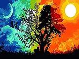 Ojmikmg Pintar por Numeros para Adultos Niños Principiantes -Pintura por Números Sol Y Luna con Pinceles y Pinturas DIY Conjunto 40 x 50 cm Sin Marco