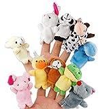 XLKJ 10 x Tier Fingerpuppe Set,Kinder Samt Handpuppe Spielzeug für Geburtstag Party -