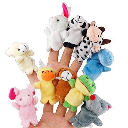 XLKJ 10 Pcs Marionetas de Dedos Animales Juguete Títeres Muñecos de Mano para Bebé Niños