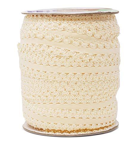 Mandala Crafts Elastic Lace Ribbon Decorative Stretch Trim for Elastic Headband, Lingerie, Sewing 1 Inch 55 Yards Roll Cream