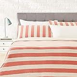 Amazon Basics - Set copripiumino in tessuto Jersey, motivo a strisce larghe - 220 x 250 cm / 50 x 80 cm, Rosso