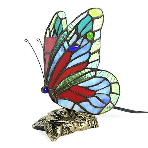 MXGP Lámpara de Mesa de Mariposa de Estilo Europeo Tiffany lámpara de Escritorio de Sala de Lectura Retro Cuerpo de lámpara de Resina de vitral Hecho a Mano Adecuado para Dormitorio,Comedor