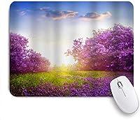 マウスパッド 個性的 おしゃれ 柔軟 かわいい ゴム製裏面 ゲーミングマウスパッド PC ノートパソコン オフィス用 デスクマット 滑り止め 耐久性が良い おもしろいパターン (国の木フラワーガーデン朝の花の木ラベンダー草の下で日当たりの良い青空シーンアート自然)