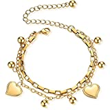 Jude Jewelers Stainless Steel Heart Charm Box Chain Adjustable Size Strand Bracelet (Gold)