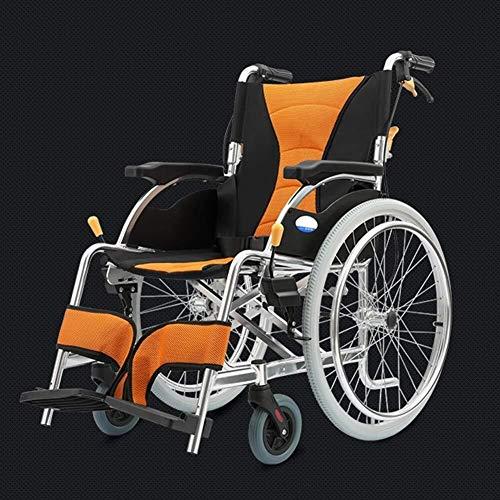IREANJ Silla de ruedas ligera plegable para conducción médica, silla de ruedas de aleación de aluminio compatible con ancianos discapacitados