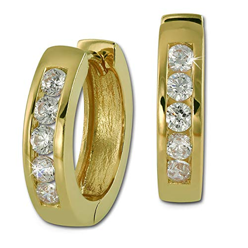 SilberDream Ohrringe 15mm Damen Silber 333 Creolen Zirkonia gold weiß SDO0045WY