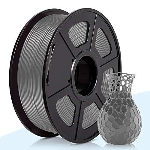 PLA Filamento Grey,3D Warhorse Pla Filamento de Impresion 3D,3D Printer Filament 1.75mm,Dimensional Accuracy +/- 0.02 mm,1KG(Spool),Polylactic Acid Material,1.75mm PLA 3D Printer Filament