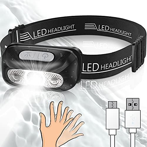 Alintor Stirnlampe LED Wiederaufladbar, Mini Kopflampe Kinder Erwachsene, Wasserfeste Super Leicht Stirnlampe Geschenke, Stirnlampe Joggen für Angeln, Camping, Headlamp Taschenlampe