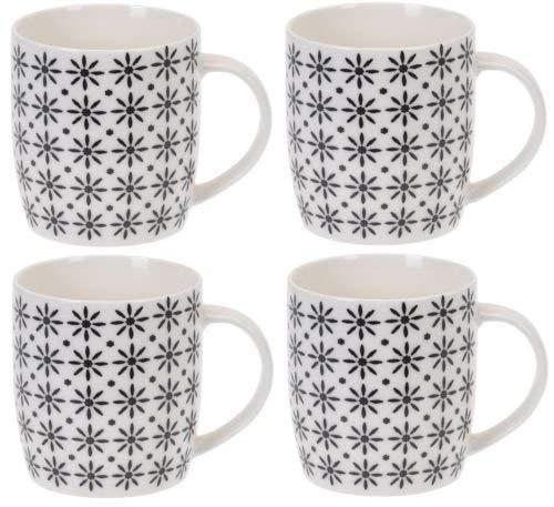 Siaki Set 4 Becher Neu Feines Porzellan Linien Streifen & Punkte Schön Kakao Kaffe Tee Becher Tassen - Sterne