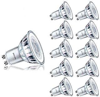 Philips Bombilla LED GU10 de 4,6 W 390 lm, repuesto de bombilla halógena de 50 W, ángulo de haz de 36°, vida útil de la lámpara, 10 unidades (luz diurna 6500 K)