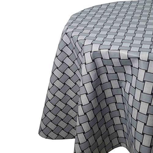 Mantel de hule para mesa de jardín, de ratán, gris, redondo, 100 cm, lavable, plegado