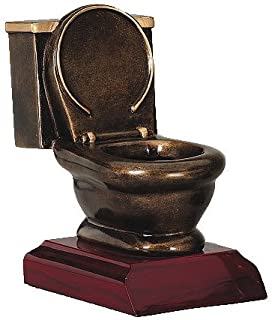 Decade Awards Toilet Bowl Loser Trophy, Gold - Last Place Award - 5 Inch Tall - Customize Now