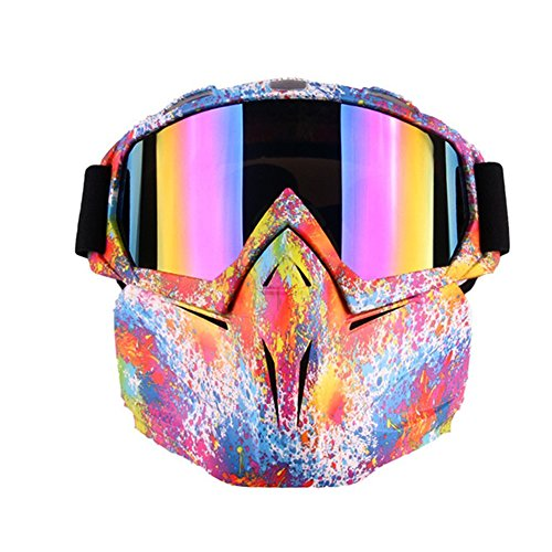 Motorcycle Goggles Mask for Airsoft/CS/Paintball/Skiing/Riding/Cycling/Halloween/Costume Ball-UV Proof Windproof Anti-fog Protective Detachable Adjustable Tactical Glasses (Multicolor Pattern)