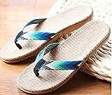 Zapatillas Casa Chanclas Sandalias Chanclas De Playa Negras para Hombre Zapatillas De Lino Sandalias para El Hogar del Hotel para Interiores Al Aire Libre-Blue_8.5