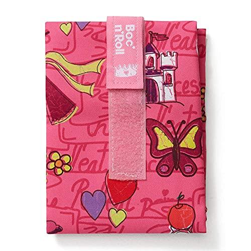 Roll'eat - Boc'n'Roll Kids   Bolsa Merienda Infantil Porta Bocadillos, Envoltorio Reutilizable y Ecológico sin BPA, Princesas Rosa