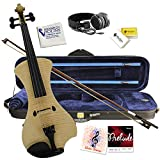 Electric Violin Bunnel NEXT Outfit 4/4 Full Size (NATURAL)- Carrying Case and Accessories Included - Headphone Jack - Highest Quality with Piezo ceramic pick-up By Kennedy Violins