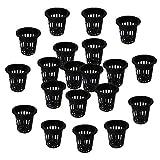 Happyyami 100Pcs Giardino Intaglio della della Maglia Tazze di Plastica Vivaio Pentole Pentole Aquaponics Coltura Fuori Suolo di Coltura Idroponica Cestino per Orchidee Nero 35X31CM