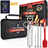 Stainless Steel Meat Injector Kit • Marinade Infusion Tool Creates Tender Meat & Poultry Flavors • Complete w/ 3 Premium Syringe Needles for Chunky & Liquid Marinades, 2 Cleaning Brushes & 2 OZ Barrel