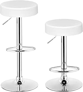 COSTWAY Swivel Bar Stool, Round PU Leather Height Adjustable Chair Pub Stool w/Chrome Footrest Set of 2 (White, 2 pcs)