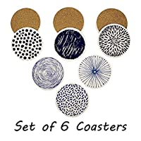 Set of 6 Acme Designs Coasters for Drinks Absorbing Round Ceramic Stone Coaster With Cork Base,Tabletop Protection Mat for Mugs and Cups,Office,Kitchen Many Pattern Options (Ceramic Coasters) [並行輸入品]