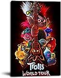 NFBZ Trolls World Tour - Póster decorativo sobre lienzo, diseño de animación, película artística impresa, para salón o dormitorio (no marco de 12 x 45 cm)