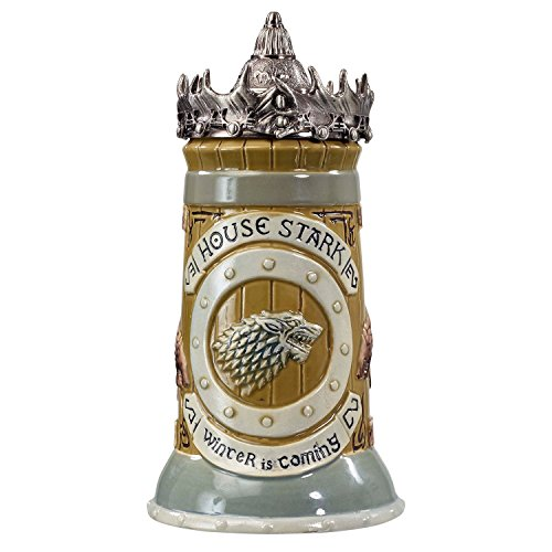 Game of Thrones House Stark Stein – 22 Oz Ceramic Base with Pewter...