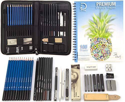 Drawing Pencils and Sketch Set 41pcs Art Kit  Everything you need for Drawing and Sketching with Graphite Charcoal and Pastels with a Full Size 9x12 Sketch Pad  All in Convenient Portable Case