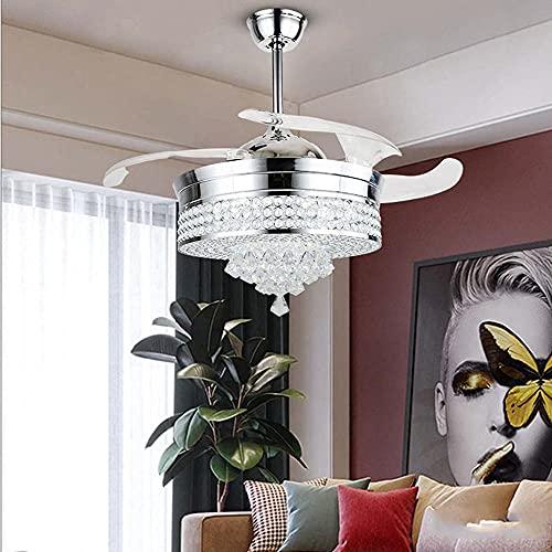 Luz del techo de cristal con las hojas retráctiles de ventilador Luces de ventilador de techo con la luz de araña de control remoto con velocidad ajustable para la sala de estar del dormitorio